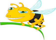 Шарж пчелы держа дерево Стоковые Изображения RF