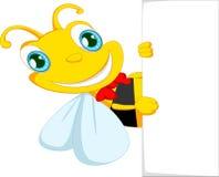 Шарж пчелы держа чистый лист бумаги Стоковое фото RF