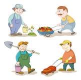 Шарж: работа садовников Стоковые Фотографии RF