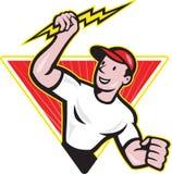 Шарж рабочий-строителя электрика Стоковое Изображение