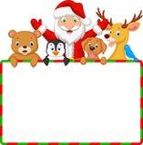 Шарж Санта и друг с пустым знаком бесплатная иллюстрация