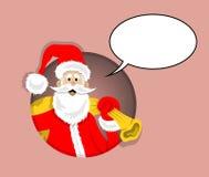 Шарж Санта Клауса внутри круга с пузырем речи бесплатная иллюстрация