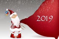 Шарж Санта Клауса на белой предпосылке стоковое изображение