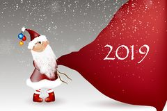 Шарж Санта Клауса на белой предпосылке стоковая фотография