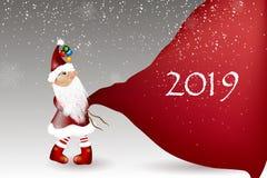 Шарж Санта Клауса на белой предпосылке стоковое изображение rf