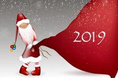 Шарж Санта Клауса на белой предпосылке стоковые изображения