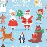 Шарж Санта Клаус характеров вектора рождества милый, снеговик, северный олень, медведь Xmas, жена Санты, символ Нового Года собак Стоковое Изображение RF