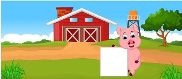 Шарж свиньи с пустым знаком иллюстрация вектора