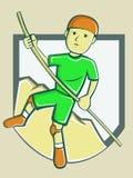 Шарж скалы мужского Hiker взбираясь иллюстрация вектора