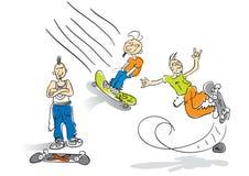 Шарж скейтбордиста Стоковые Изображения
