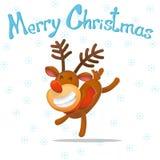 шарж Смешной танцор оленей, поздравляет на рождестве северный олень santa claus Новый Год рождество веселое Иллюстрация вектора