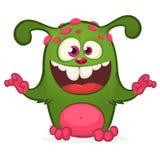 Шарж смеясь над зеленым извергом Изолированная иллюстрация вектора зеленого изверга Дизайн хеллоуина иллюстрация вектора