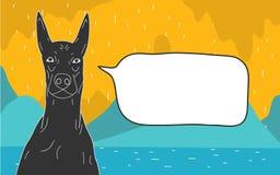Шарж собаки с текстовым полем Стоковая Фотография