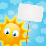 Шарж Солнце с бумажной карточкой иллюстрация штока