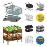 Шарж супермаркета и оборудования, чернота, плоский, monochrome, значки плана в собрании комплекта для дизайна Приобретение продук бесплатная иллюстрация