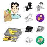 Шарж супермаркета и оборудования, чернота, плоский, monochrome, значки плана в собрании комплекта для дизайна Приобретение продук иллюстрация вектора