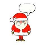 шарж счастливый Санта Клаус с пузырем речи Стоковые Фотографии RF
