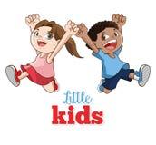 Шарж счастливых маленьких ребеят, иллюстрация вектора Стоковые Фото