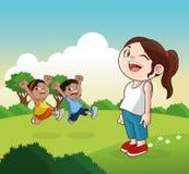 Шарж счастливых маленьких ребеят, иллюстрация вектора Стоковые Изображения