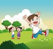 Шарж счастливых маленьких ребеят, иллюстрация вектора Стоковое Фото