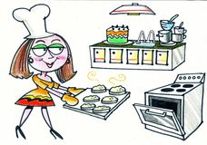 Шарж счастливых scones выпечки женщины в кухне иллюстрация штока