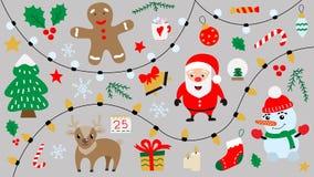 Шарж с Рождеством Христовым и счастливые изолированные символы Нового Года бесплатная иллюстрация