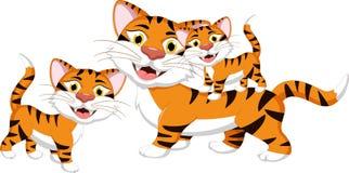Шарж тигра с cild Стоковое Фото