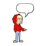 шарж указывая подросток с пузырем речи Стоковое фото RF