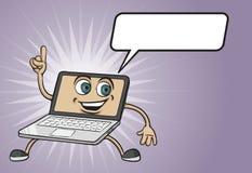 Шарж указывая характер портативного компьютера бесплатная иллюстрация