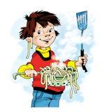 Шарж дуршлага макаронных изделий мальчика шеф-повара Стоковые Изображения