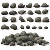 Шарж утеса каменный в равновеликом плоском стиле Комплект различной иллюстрация вектора