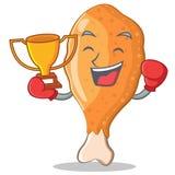 Шарж характера жареной курицы победителя бокса Стоковое Изображение RF