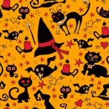 Шарж хеллоуина безшовный с котами и воронами Стоковое Изображение