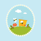 Шарж цветет вектор искусства сада плодоовощей улья Стоковая Фотография