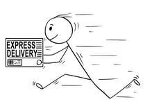 Шарж человека или бизнесмена бежать с коробкой срочной поставки иллюстрация вектора