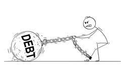 Шарж человека или бизнесмена вытягивая большой железный шарик при прикованный текст Dept к его ноге иллюстрация вектора