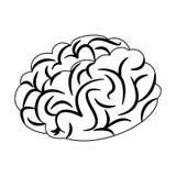 Шарж человеческого мозга в черно-белом Стоковое Изображение