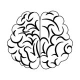 Шарж человеческого мозга в черно-белом Стоковые Изображения