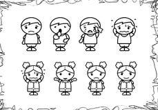 Шарж чертежа руки детей стоковые фото