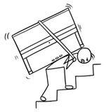 Шарж человека нося рояль вверх по лестницам иллюстрация вектора