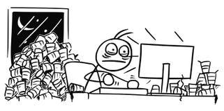 Шарж человека работая на компьютере всю ночь и кофе Drinkig Стоковое фото RF