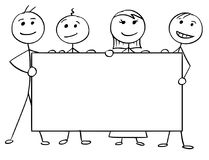 Шарж человека ручки вектора 4 людей держа большой опорожняет Стоковое Изображение