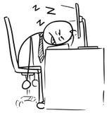 Шарж человека спать на клавиатуре компьютера Стоковая Фотография