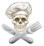 Шарж шеф-повара перекрещенных костей пирата иллюстрация вектора