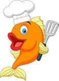 Шарж шеф-повара рыб иллюстрация вектора