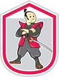 Шарж экрана ратника самураев сложенный оружиями Стоковые Фото