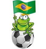 Шарж лягушки с футбольным мячом иллюстрация штока