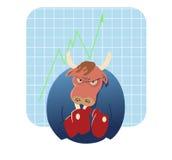 Шарж Bull готовый для того чтобы принять сверх фондовую биржу Стоковые Изображения