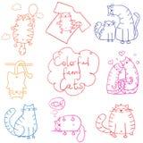 Шарж doodle котов установленный смешной Стоковая Фотография