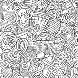 Шарж doodles картина русской еды безшовная Стоковая Фотография